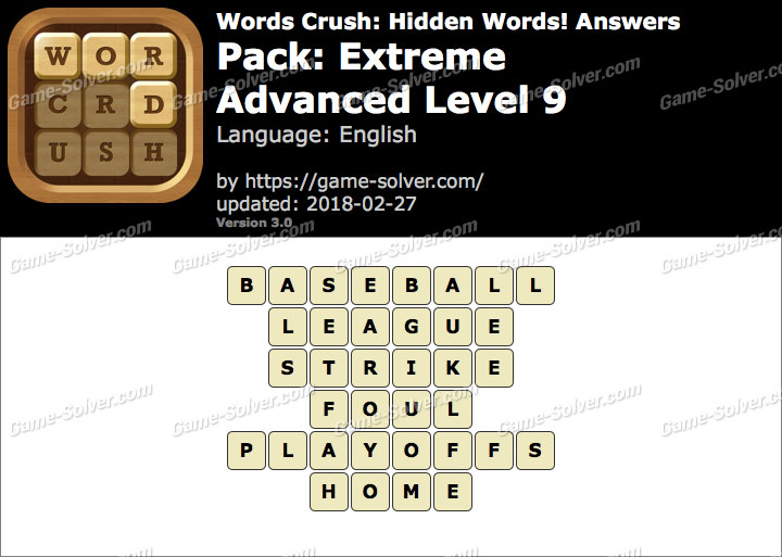 Words Crush Extreme-Advanced Level 9 Answers