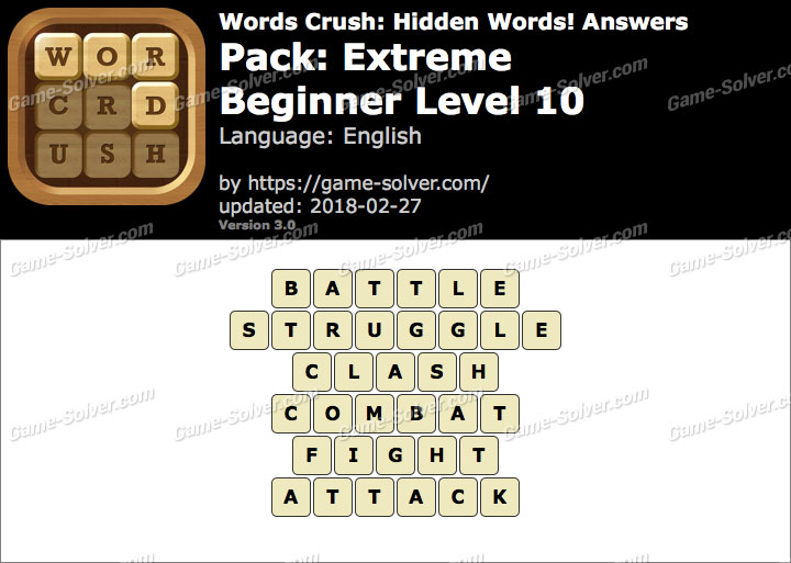 Words Crush Extreme-Beginner Level 10 Answers