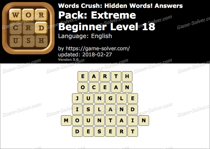 Words Crush Extreme-Beginner Level 18 Answers