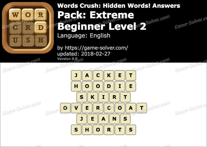 Words Crush Extreme-Beginner Level 2 Answers
