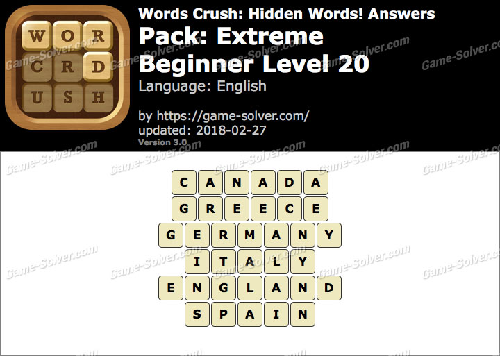 Words Crush Extreme-Beginner Level 20 Answers