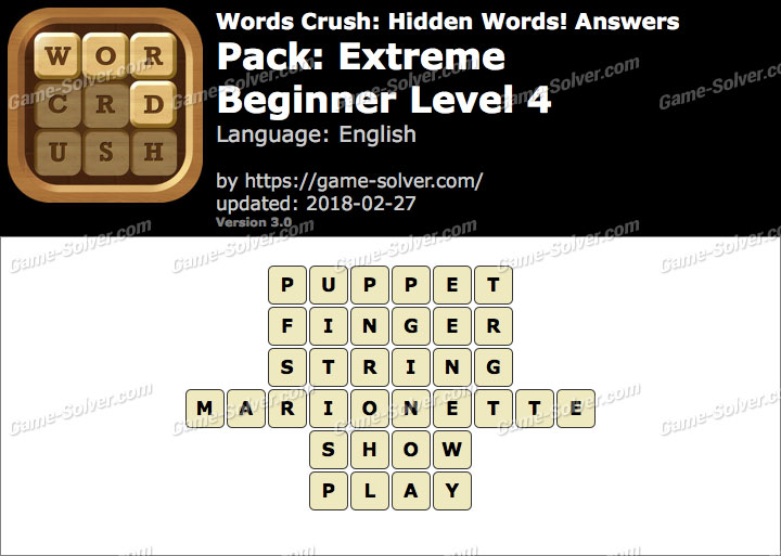 Words Crush Extreme-Beginner Level 4 Answers