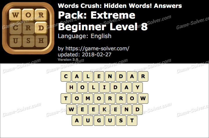 Words Crush Extreme-Beginner Level 8 Answers