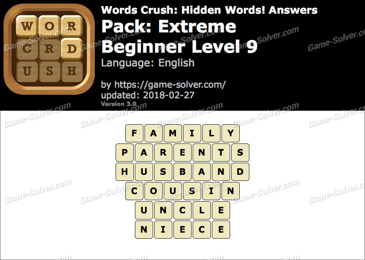 Words Crush Extreme-Beginner Level 9 Answers