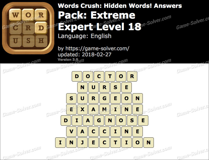 Words Crush Extreme-Expert Level 18 Answers