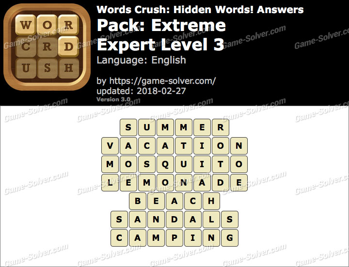 Words Crush Extreme-Expert Level 3 Answers