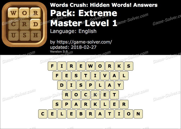 Words Crush Extreme-Master Level 1 Answers
