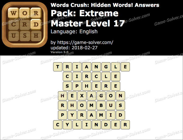 Words Crush Extreme-Master Level 17 Answers