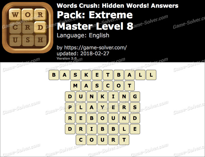 Words Crush Extreme-Master Level 8 Answers