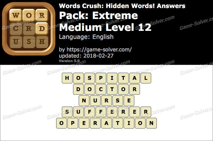 Words Crush Extreme-Medium Level 12 Answers