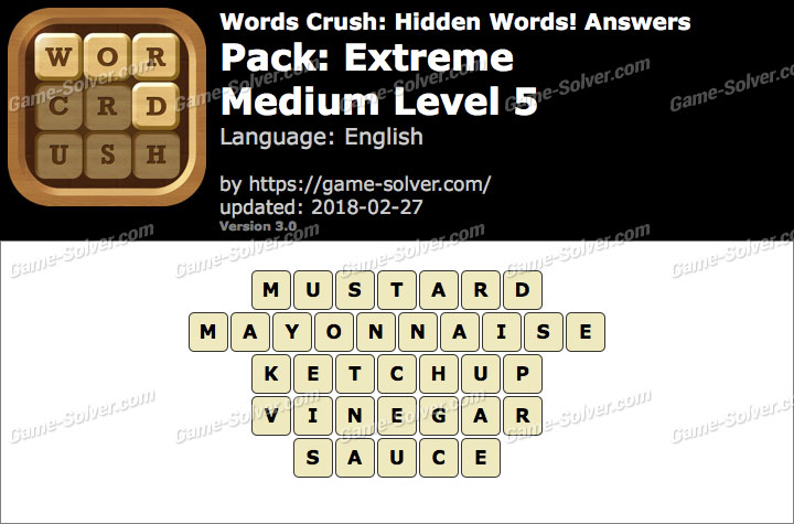 Words Crush Extreme-Medium Level 5 Answers