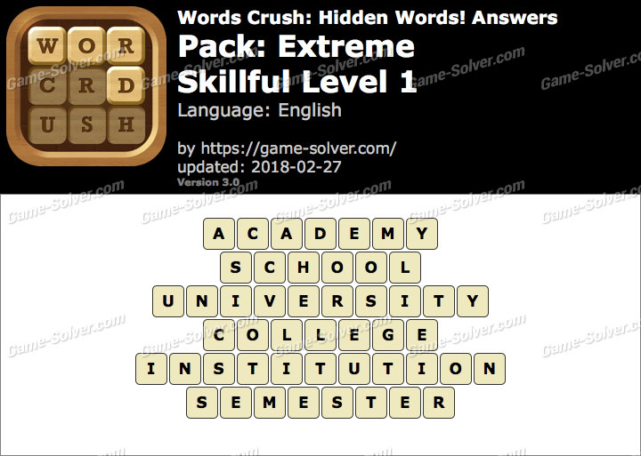 Words Crush Extreme-Skillful Level 1 Answers