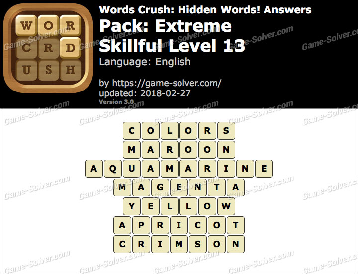 Words Crush Extreme-Skillful Level 13 Answers