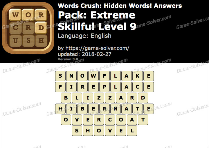Words Crush Extreme-Skillful Level 9 Answers