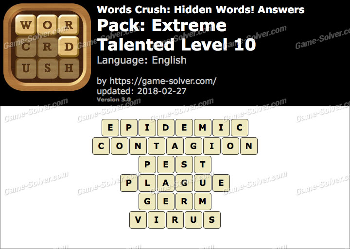 Words Crush Extreme-Talented Level 10 Answers