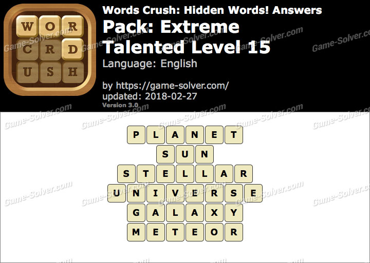 Words Crush Extreme-Talented Level 15 Answers
