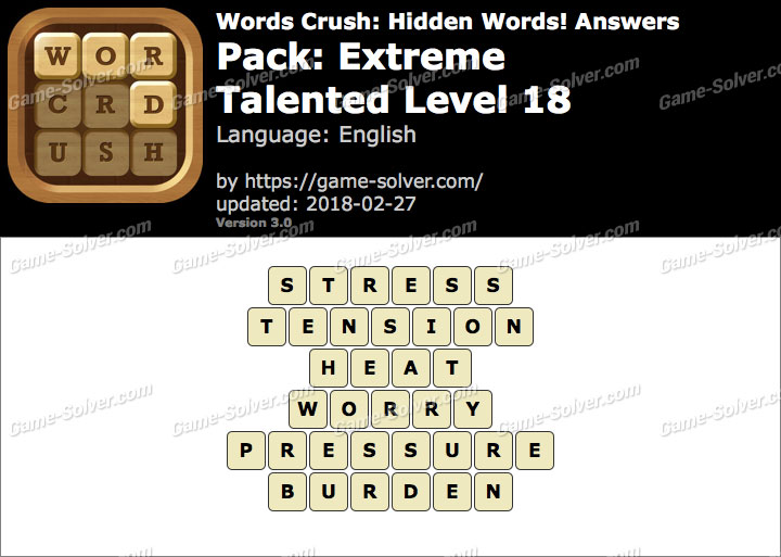 Words Crush Extreme-Talented Level 18 Answers