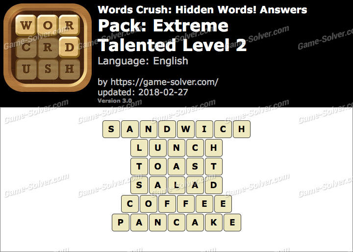 Words Crush Extreme-Talented Level 2 Answers