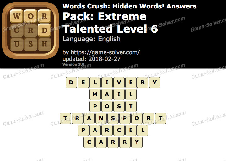 Words Crush Extreme-Talented Level 6 Answers