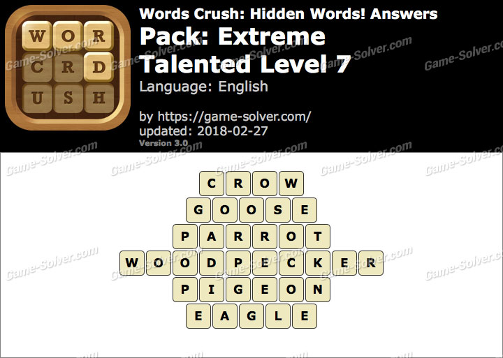 Words Crush Extreme-Talented Level 7 Answers