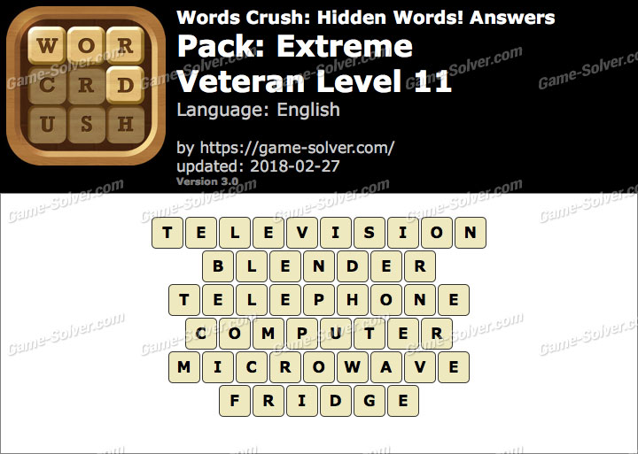 Words Crush Extreme-Veteran Level 11 Answers