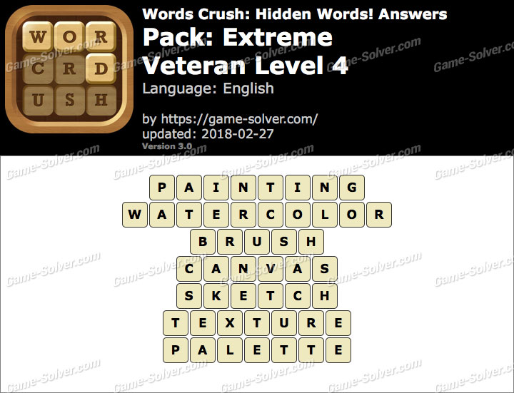 Words Crush Extreme-Veteran Level 4 Answers