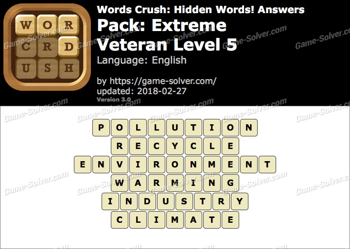 Words Crush Extreme-Veteran Level 5 Answers