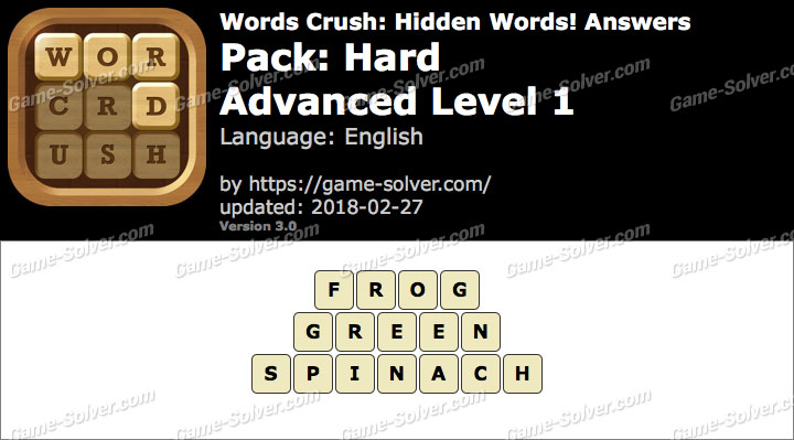 Words Crush Hard-Advanced Level 1 Answers