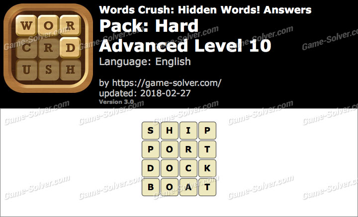 Words Crush Hard-Advanced Level 10 Answers