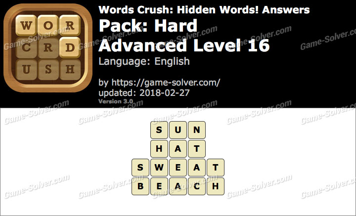 Words Crush Hard-Advanced Level 16 Answers