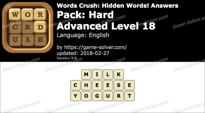 Words Crush Hard-Advanced Level 18 Answers