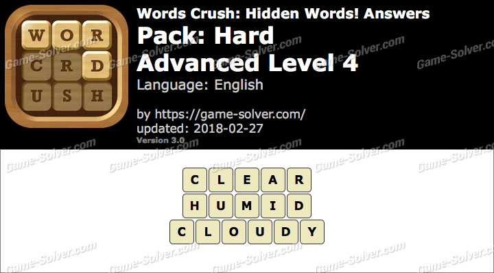 Words Crush Hard-Advanced Level 4 Answers