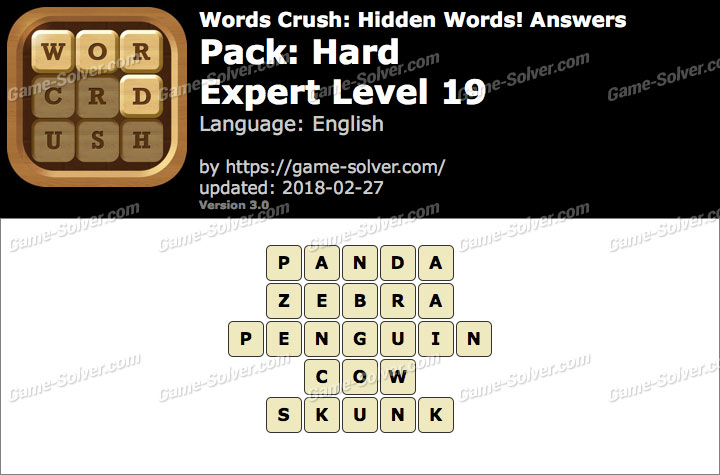Words Crush Hard-Expert Level 19 Answers