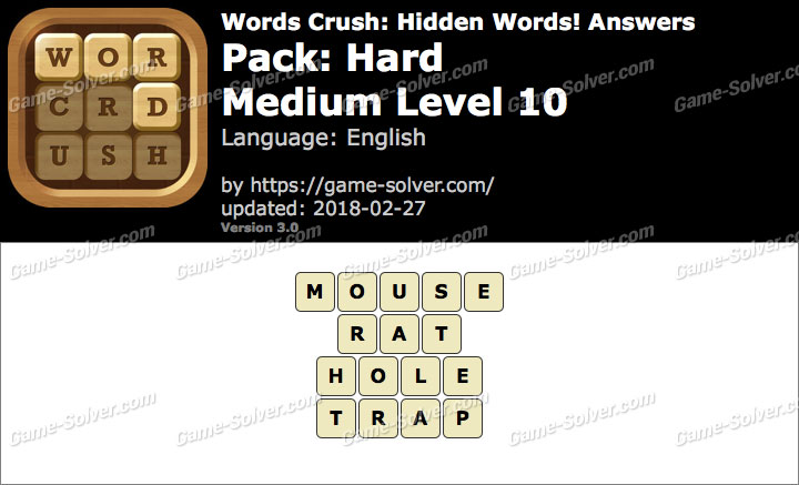 Words Crush Hard-Medium Level 10 Answers