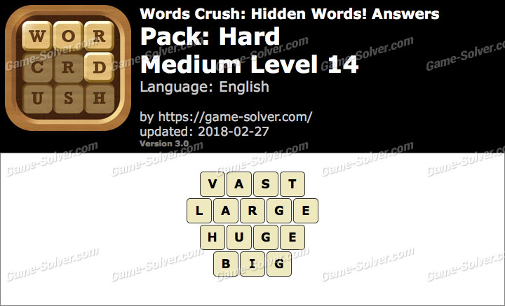 Words Crush Hard-Medium Level 14 Answers