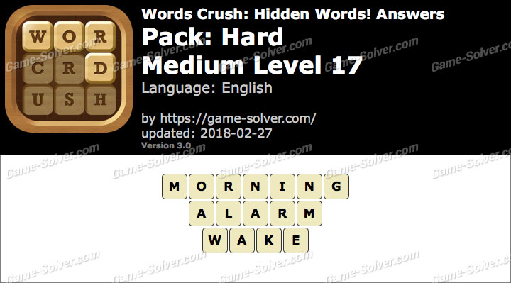 Words Crush Hard-Medium Level 17 Answers