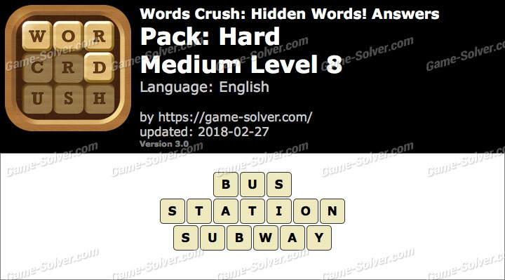 Words Crush Hard-Medium Level 8 Answers