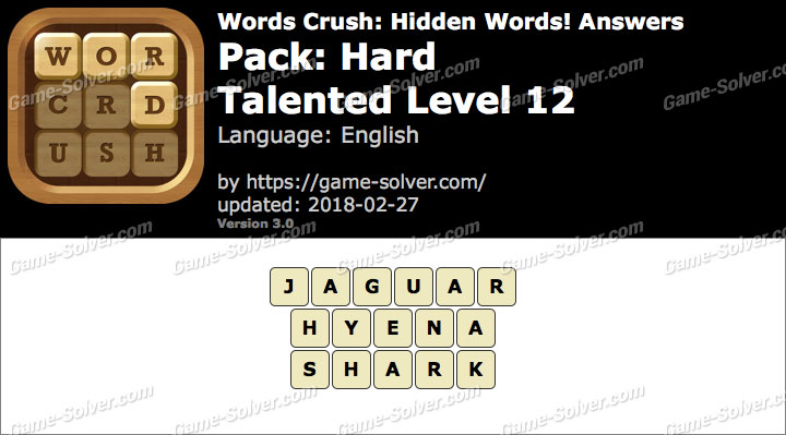 Words Crush Hard-Talented Level 12 Answers