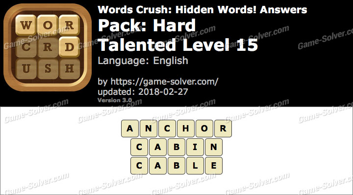 Words Crush Hard-Talented Level 15 Answers