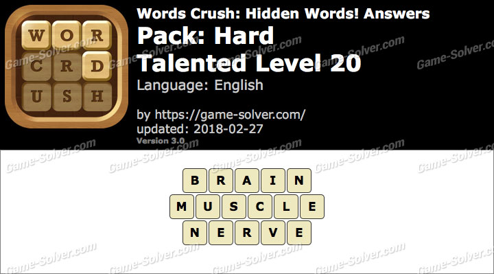 Words Crush Hard-Talented Level 20 Answers