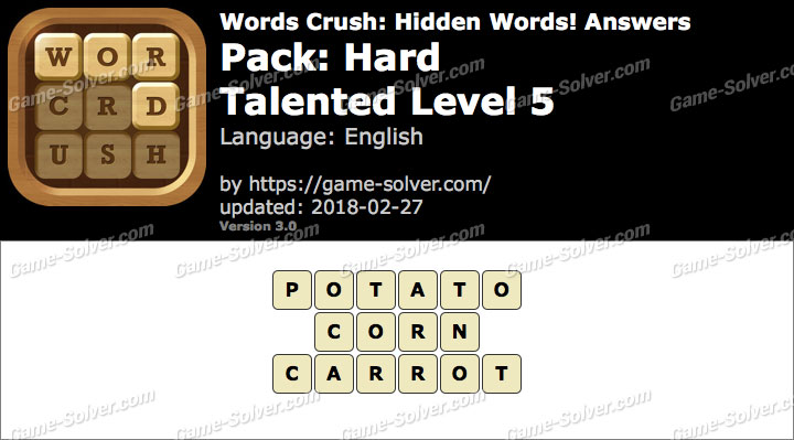 Words Crush Hard-Talented Level 5 Answers
