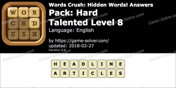 Words Crush Hard-Talented Level 8 Answers