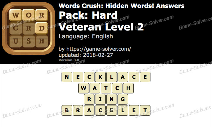 Words Crush Hard-Veteran Level 2 Answers