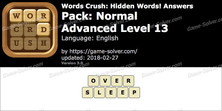 Words Crush Normal-Advanced Level 13 Answers