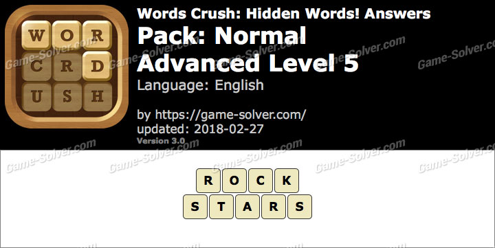 Words Crush Normal-Advanced Level 5 Answers
