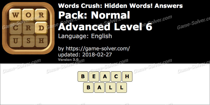 Words Crush Normal-Advanced Level 6 Answers