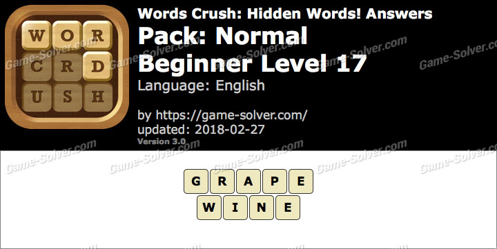 Words Crush Normal-Beginner Level 17 Answers