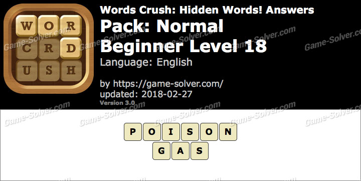 Words Crush Normal-Beginner Level 18 Answers