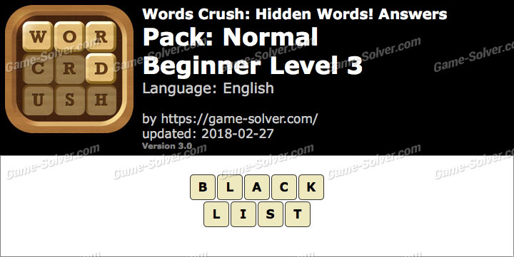 Words Crush Normal-Beginner Level 3 Answers