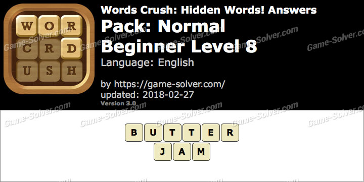 Words Crush Normal-Beginner Level 8 Answers